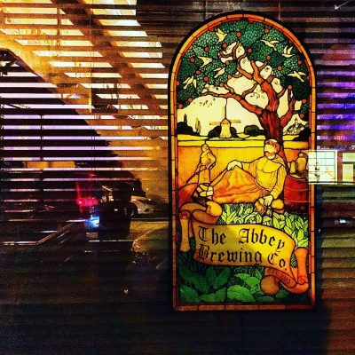 Stained glass window sign
