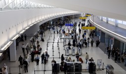 An overhead view of the check-in area of JetBlue's T5 terminal.