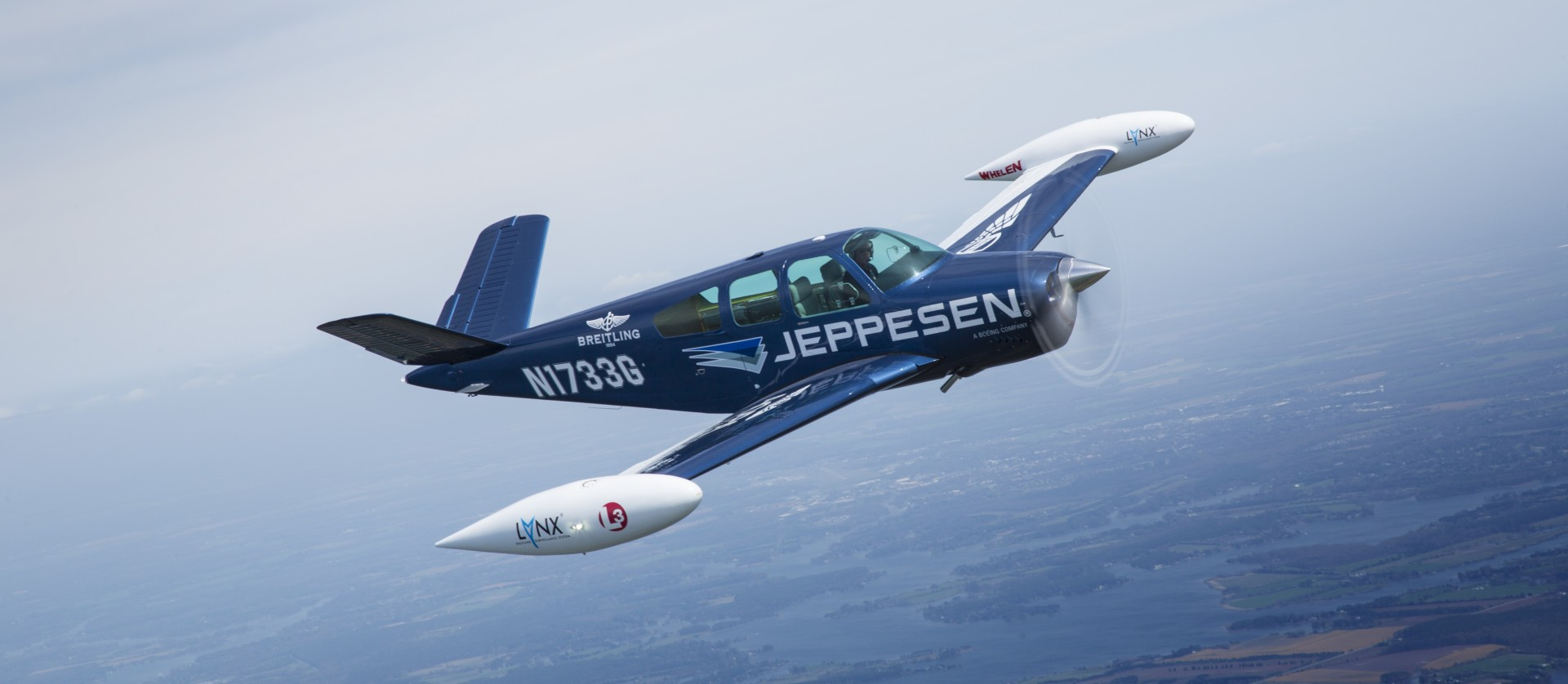 Jeppesen plane flying in the air