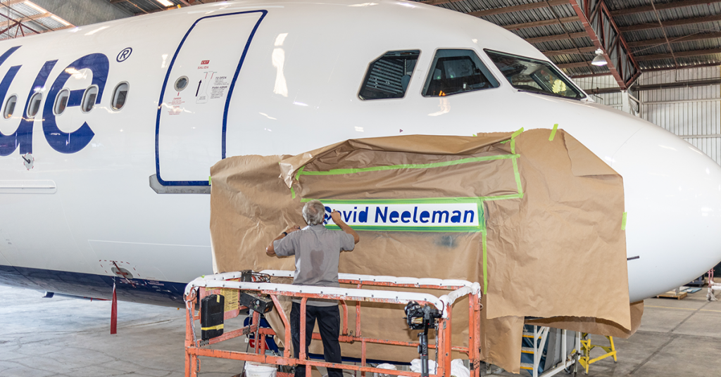 The Airbus A321neo being painted