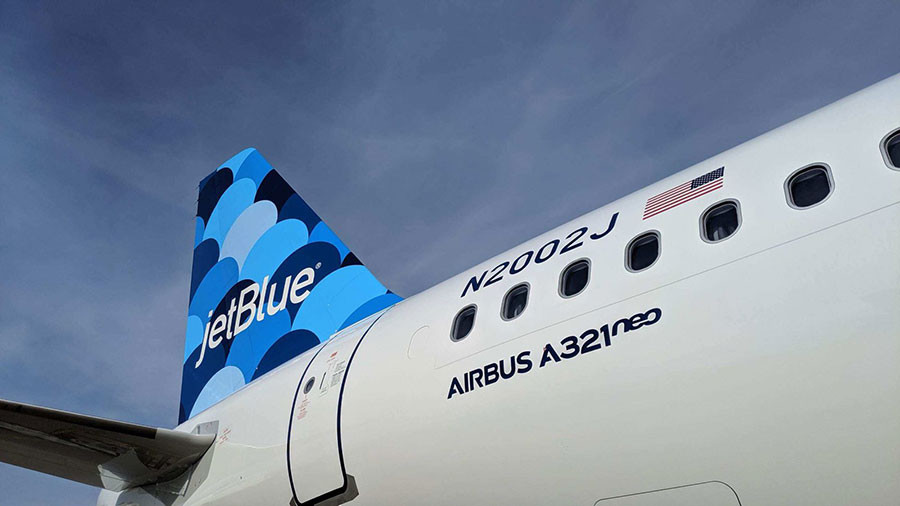 The 'balloons' tailfin on the Airbus A321neo