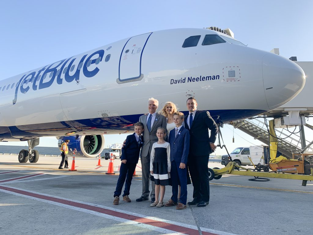 David Neeleman and Family at JetBlue Terminal 5 A321neo Launch