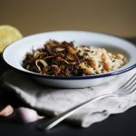 Pulled beef meat with wild rice and chickpeas, ropa vieja or vaca frita, traditional cuban cuisine
