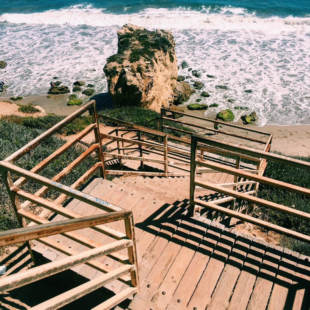 Stairs down to the beach and water