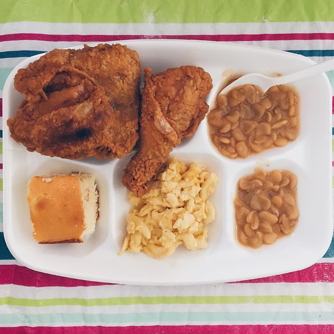 Fried chicken and beans dinner