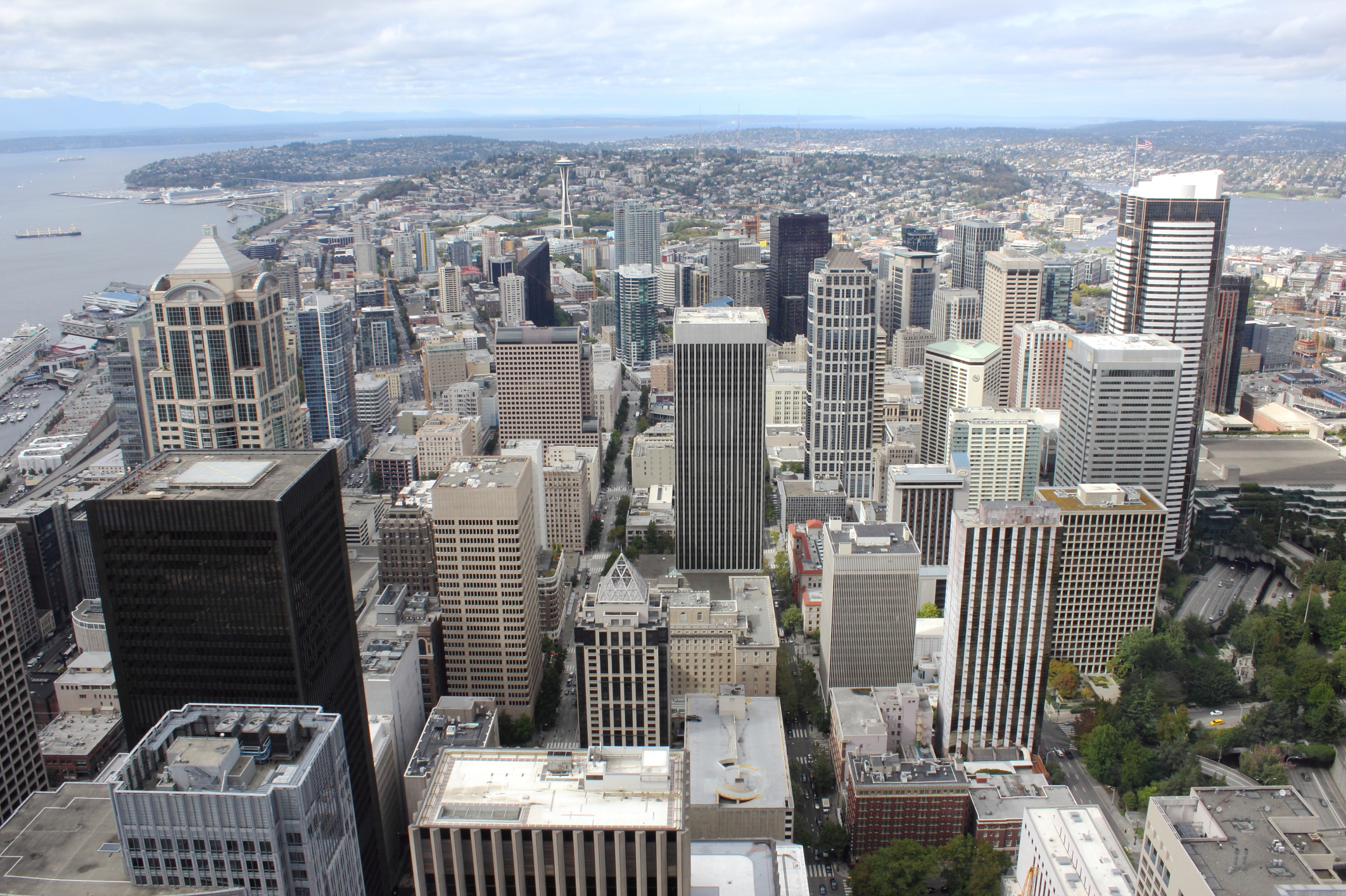 Aerial view of Seattle buildings
