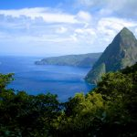 View of Petit Piton mountains from the Gros Piton mountains in St. Lucia