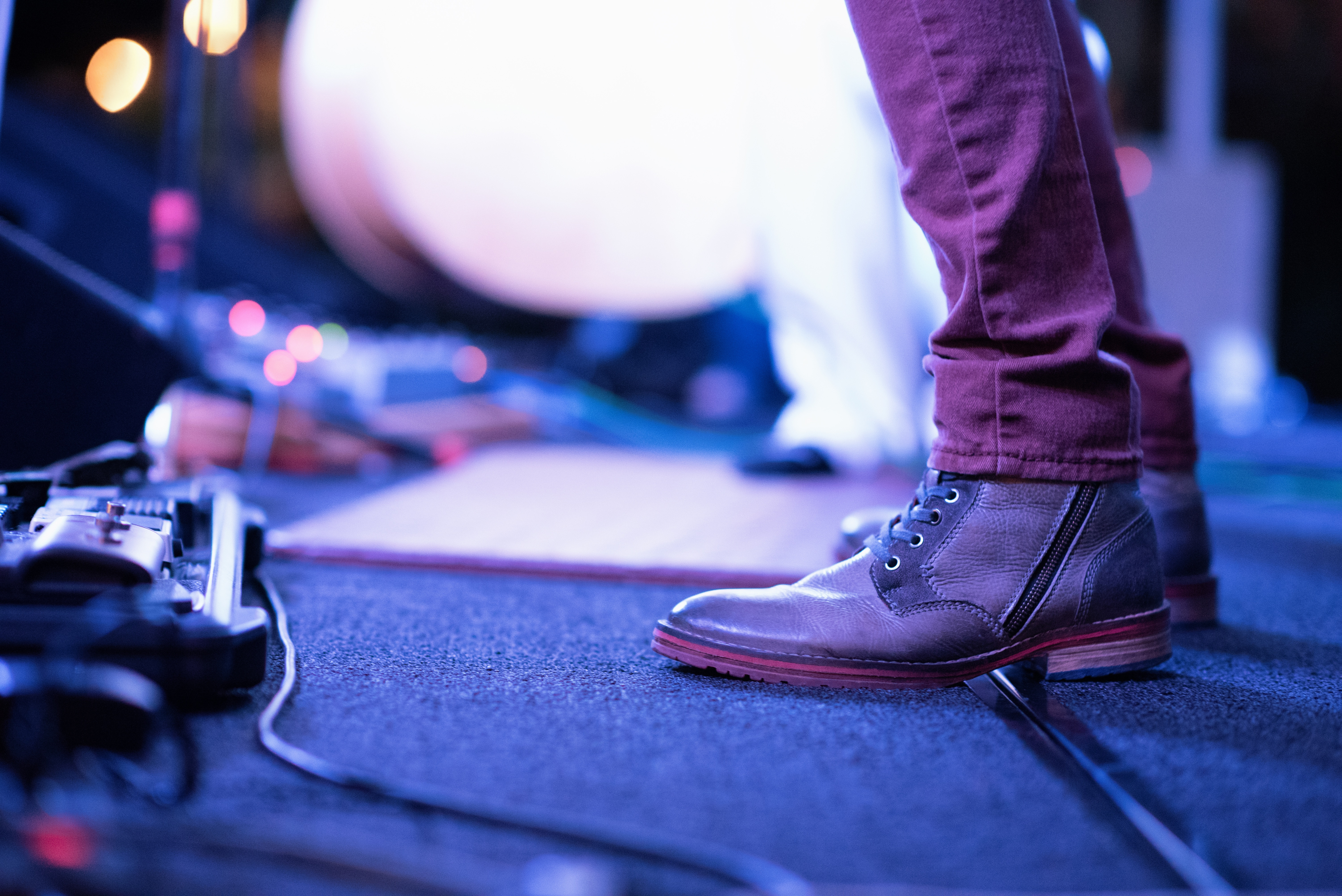 Musician feet on stage