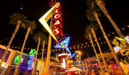 Downtown Las Vegas with neon at night