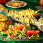 Fried fish with plantains and salad